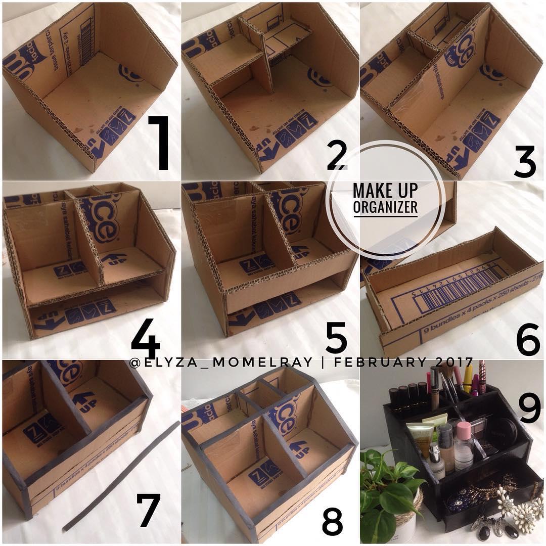Cara Membuat Make Up Organizer Dari Kardus
