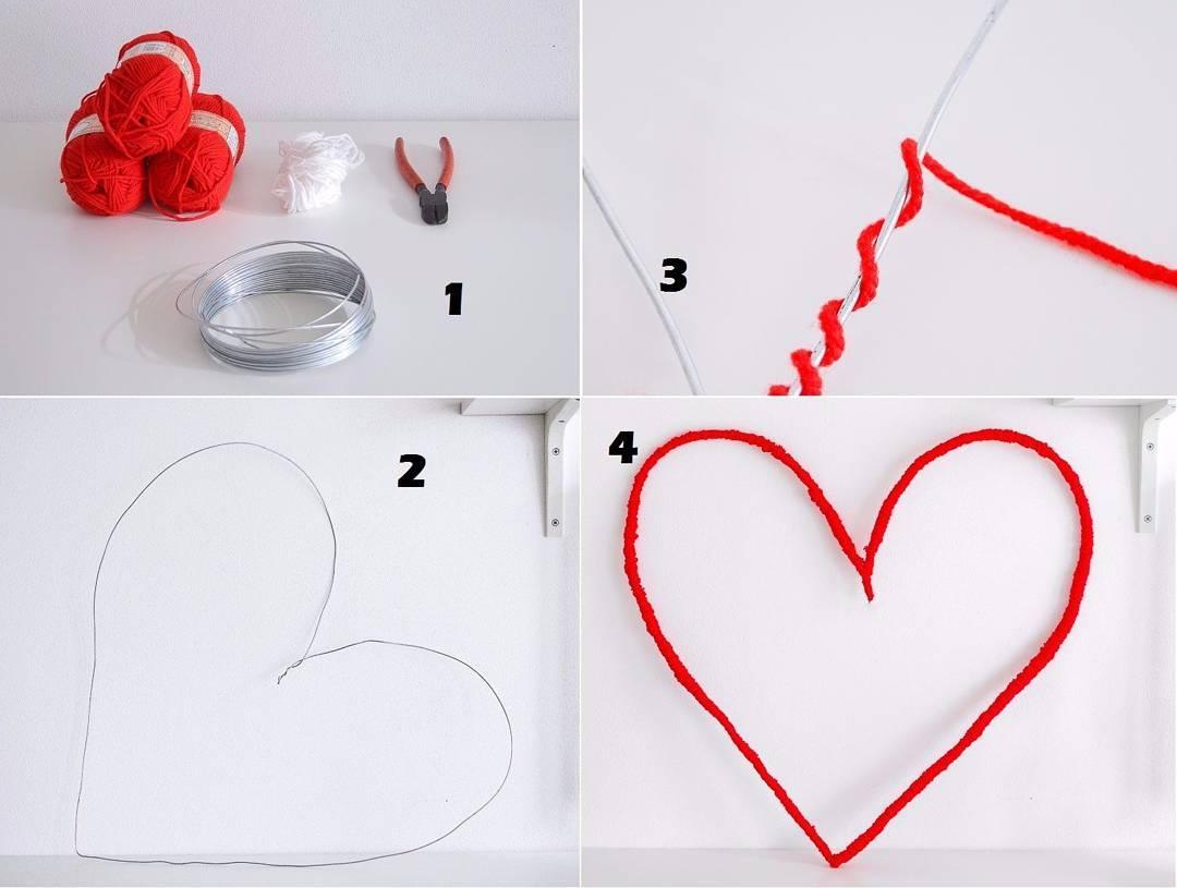 Membuat Hiasan Dinding Berbentuk LoveHeart Dari Benang Wol