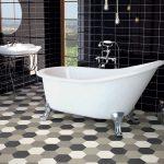 Lantai Keramik Kamar Mandi Hotel Minimalis Berbentuk Hexagonel Modern Dengan Bathtub Yang Cantik