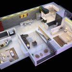 Desain Rumah Sederhana 3D Dengan 2 Kamar Tidur Minimalis