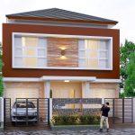 Gambar Tampak Depan Rumah Minimalis 2 Lantai Dengan Teras Batu Alam Dan Warna Cat Cokelat