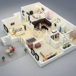 Contoh Denah Rumah Minimalis 2 Kamar Tidur 3d Dengan Ruang Ramu Dan Ruang Keluarga Yang Menyatu