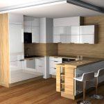 Dapur Modern Minimalis Dengan Lantai Kayu Parquet Untuk Dapur