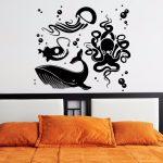 Dekor Kamar Tidur Dengan Sticker Dinding Berbentuk Hewan Laut