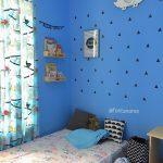 Dekorasi Dinding Kamar Anak Perempuan Unik Dengan Warna Cat Biru
