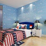 Dekorasi Kamar Tidur Anak Laki Laki Dengan Wallpaper Dinding Motif Luar Angkasa Bulan Bintang