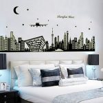 Dekorasi Kamar Tidur Dengan Stiker Dinding Motif Bangunan Kota Terbaru