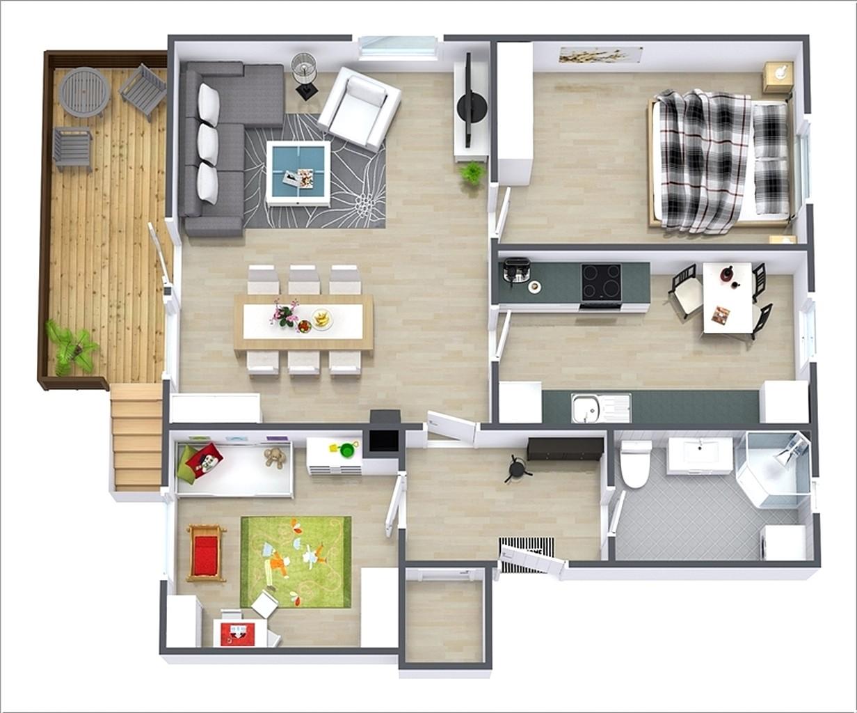 Denah Rumah 2 Kamar 3D Sebagai Rancangan Desain Rumah Minimalis Modern
