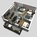Denah Rumah 2 Kamar Tidur Type 36 Lahan Sempit 3D
