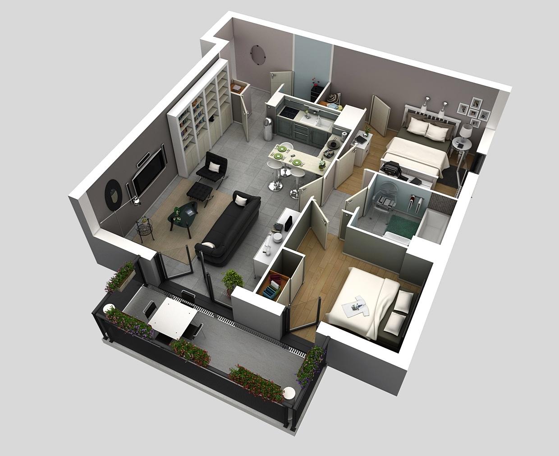 15 denah rumah minimalis 2 kamar tidur 3d 2017 terbaru
