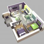 Denah Rumah Minimalis 1 Lantai Tanpa Garasi Dengan 2 Kamar Tidur3D