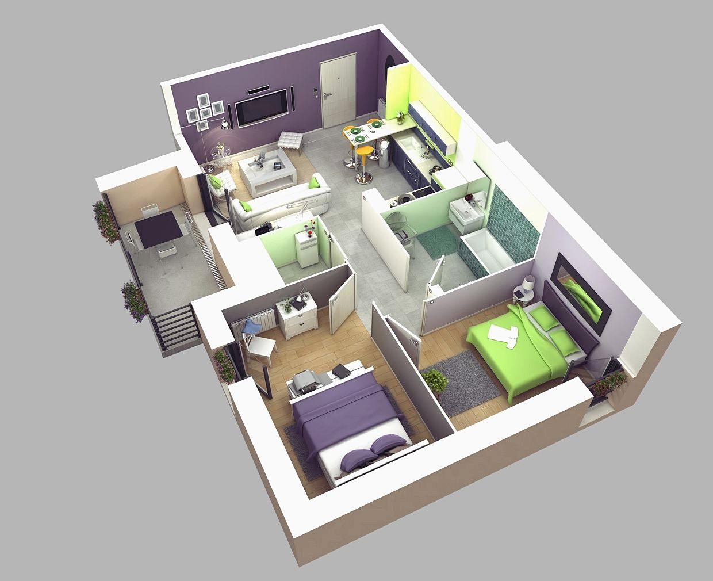 15 Denah Rumah Minimalis 2 Kamar Tidur 3D 2017 Terbaru Dekor Rumah