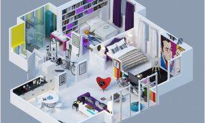 Denah Rumah Minimalis 2 Kamar Tidur 1 Lantai 3d Terbaru