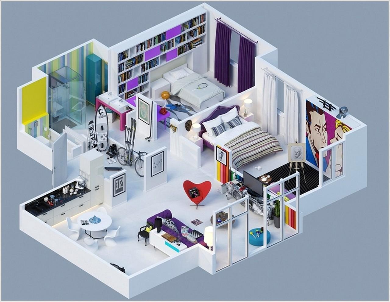 Denah Rumah Minimalis 1 Lantai 2 Kamar Tidur 3d Desain Rumah Minimalis