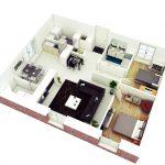 Denah Rumah Minimalis 2 Kamar Type 36 Model Terbaru 3D