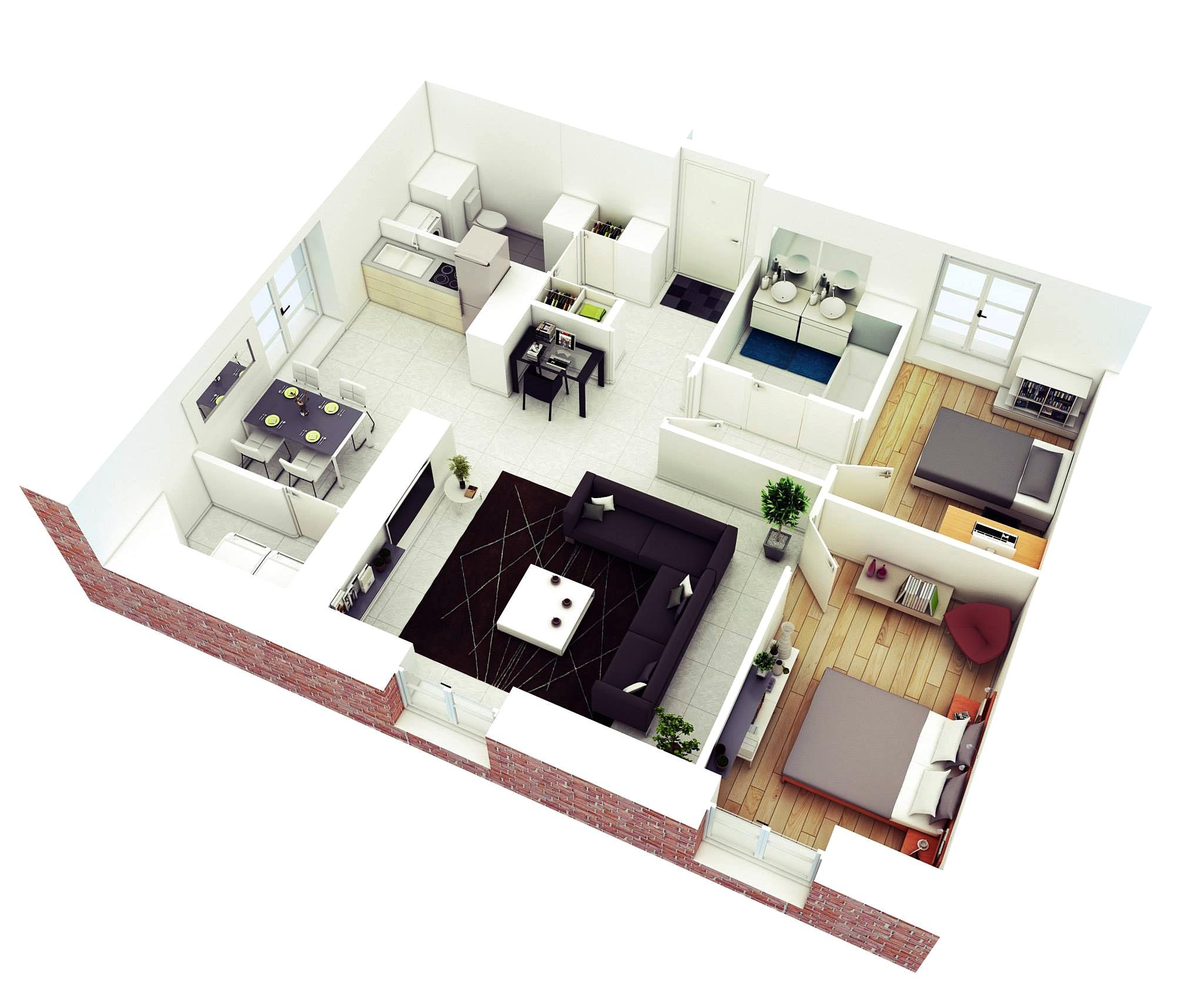 15 denah rumah minimalis 2 kamar tidur 3d 2019 terbaru | dekor rumah