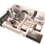 Denah Rumah Minimalis Sederhana 1 Lantai 2 Kamar Terbaru 3D Gambar Besar