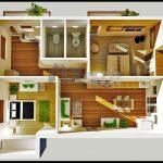 Denah Rumah Sangat Sederhana Minimalis 2 Kamar Tidur 3D
