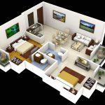 Denah Rumah Sederhana 2 Kamar Tidur Type 36 45 Terbaru 3D