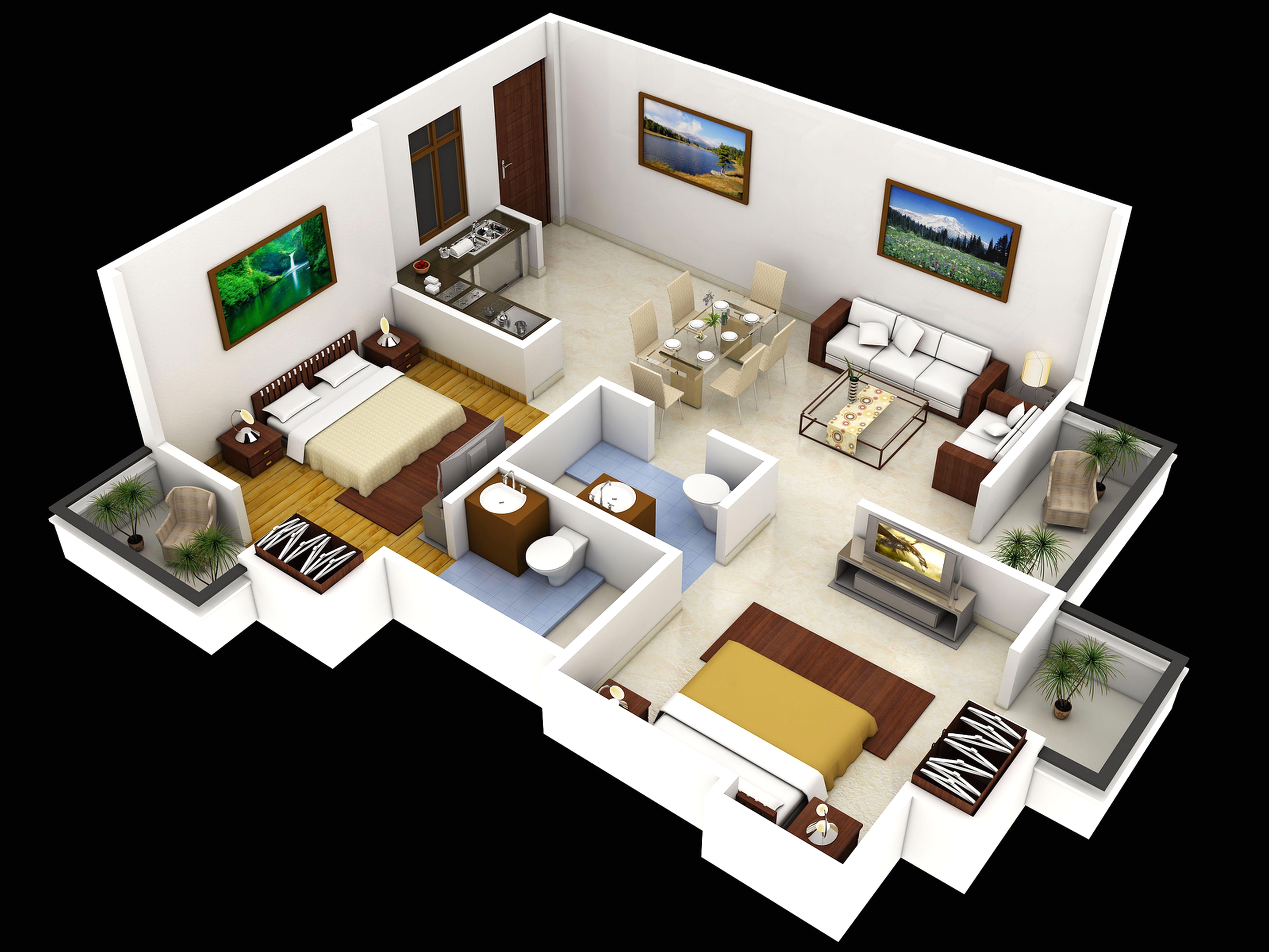 15 Denah Rumah Minimalis 2 Kamar Tidur 3D 2018 Terbaru