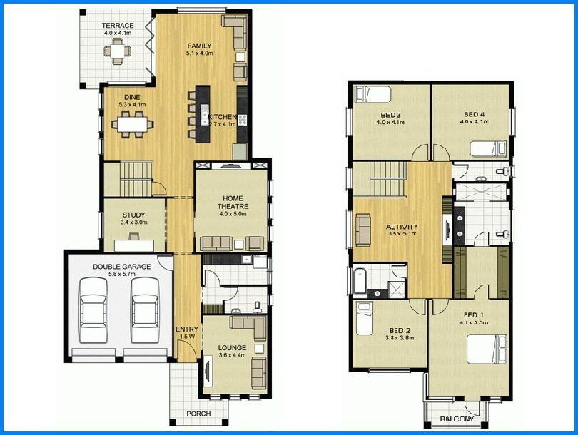14 denah rumah minimalis 2 lantai modern sederhana 2017