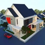 Desain Atap Rumah Minimalis Modern Dengan Warna Biru Dan Genteng Flat