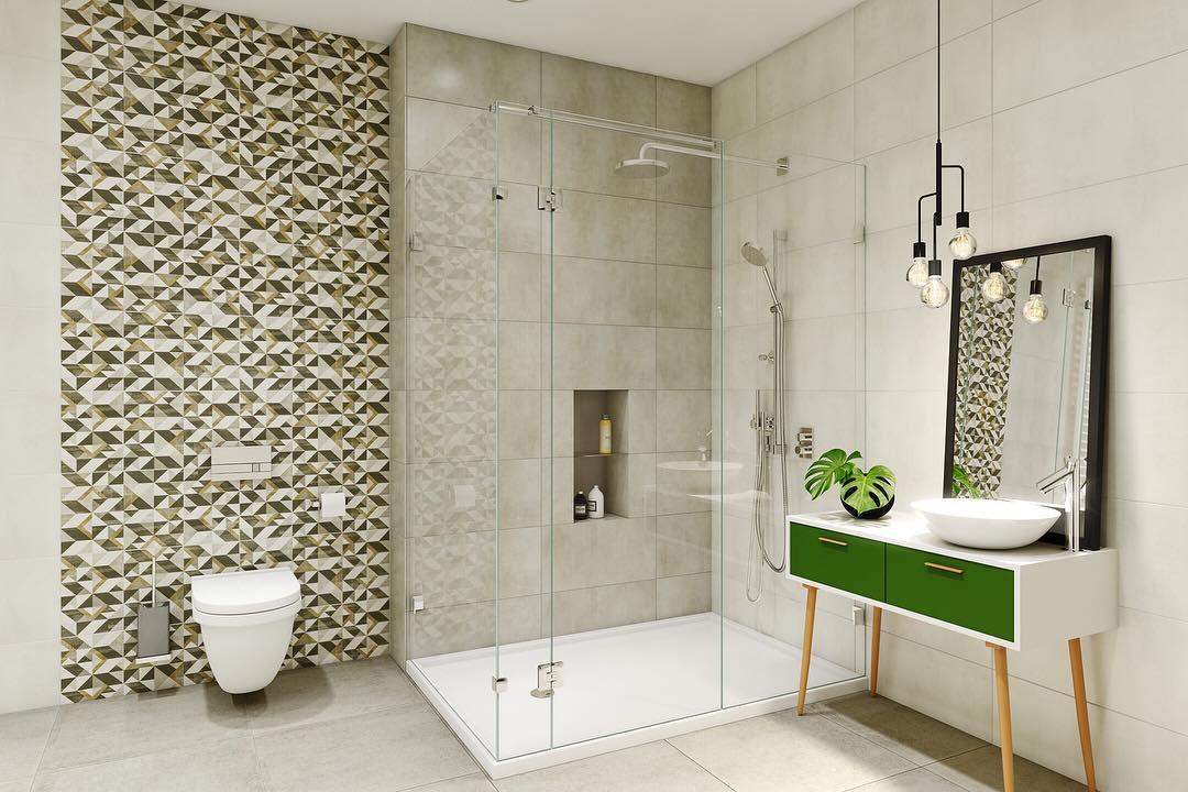 Desain Kamar Mandi Mewah Dengan Keramik Dinding Keren Dan Bergaya Minimalis