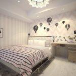 Desain Kamar Tidur Anak Perempuan Mewah Dengan Wallpaper Dinding Yang Unik