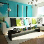 Desain Ruang Tamu Berwarna Biru