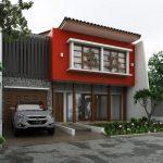 Desain Rumah Minimalis 2 Lantai 6x12 Dengan Warna Cat Merah Dan Taman Minimalis