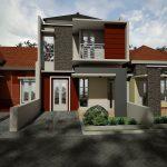 Desain Rumah Minimalis 2 Lantai Dengan Warna Cat Abu Abu Dan Cokelat Ditambah Taman Minimalis