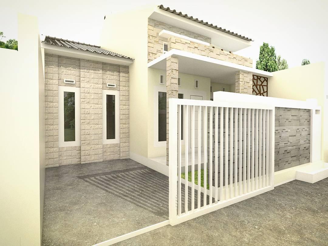 Desain Teras Batu Alam Rumah Minimalis Type 36
