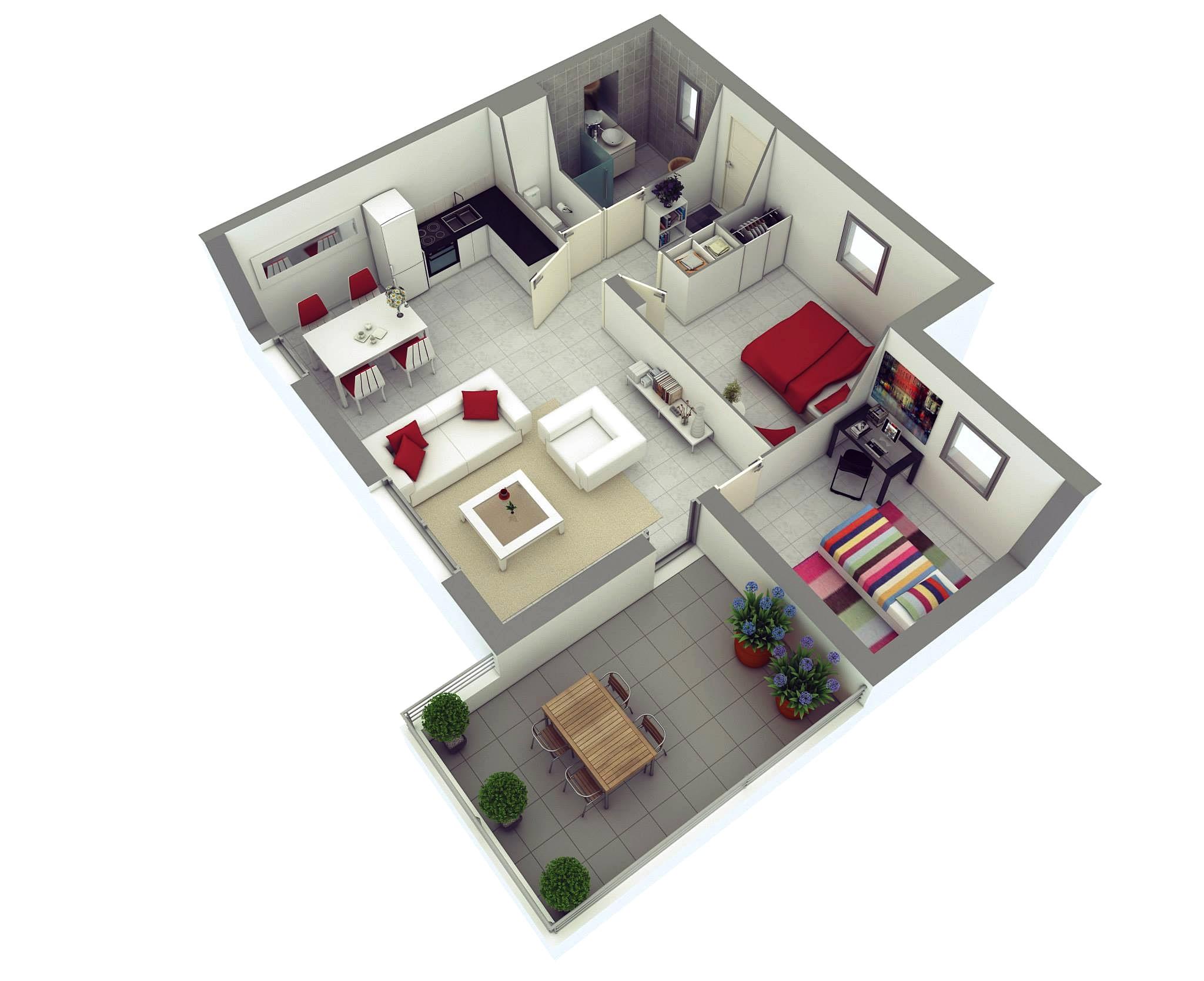 15 Denah Rumah Minimalis 2 Kamar Tidur 3D 2019 Terbaru Dekor Rumah