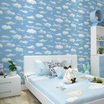Motif Wallpaper Dinding Terbaru Dengan Tema Awan Warna Biru Kreatif