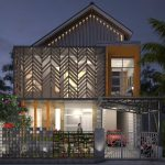 Rumah Minimalis 2 Lantai Modern Tampak Depan Dengan Pagar Besi Minimalis