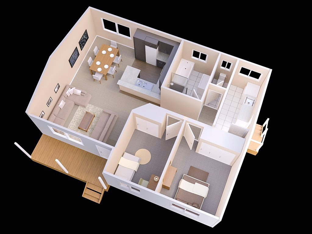 Sketsa Denah Rumah Minimalis 2 Kamar Tidur Shabby Chic 3D Terbaru
