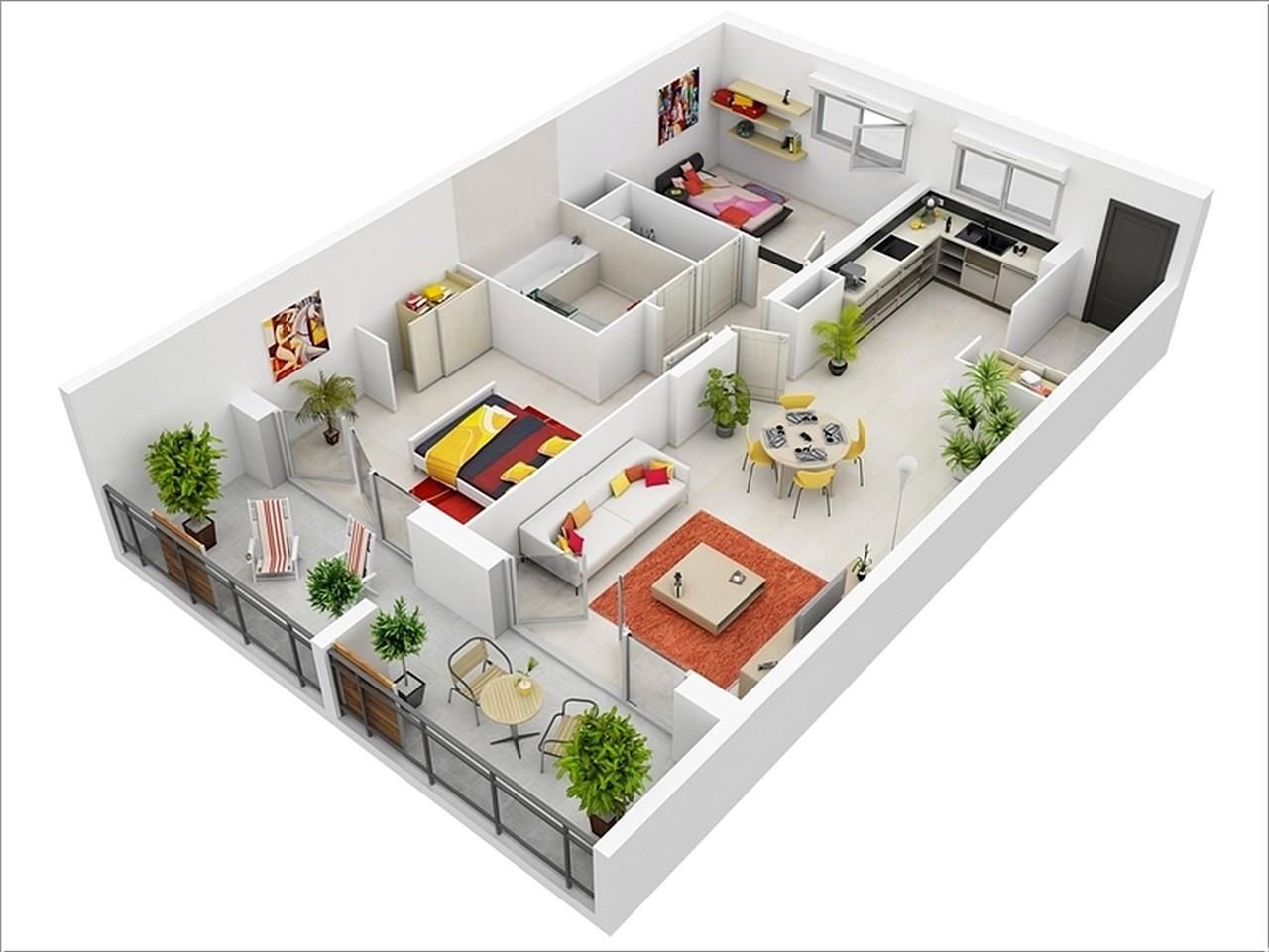 Sketsa Denah Rumah Minimalis Sederhana 2 Kamar Tidur Terbaru