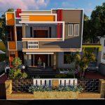 Tampak Depan Rumah Minimalis 2 Lantai Mewah Dengan Bangunan Tanpa Atap Dan Warna Cat Yang Bagus