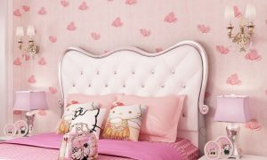 Wallpaper Dinding Kamar Tidur Motif Bunga Bunga Warna Pink Shabby Chic