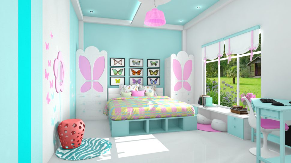 Warna Cat R Tidur Anak Perempuan Biru Muda Pink Abu