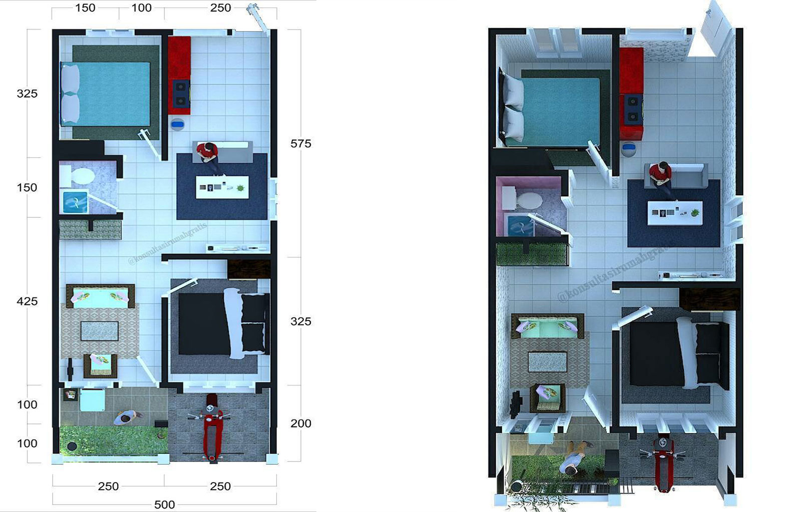 Denah Rumah 6x10 M Atau Denah Rumah Minimalis