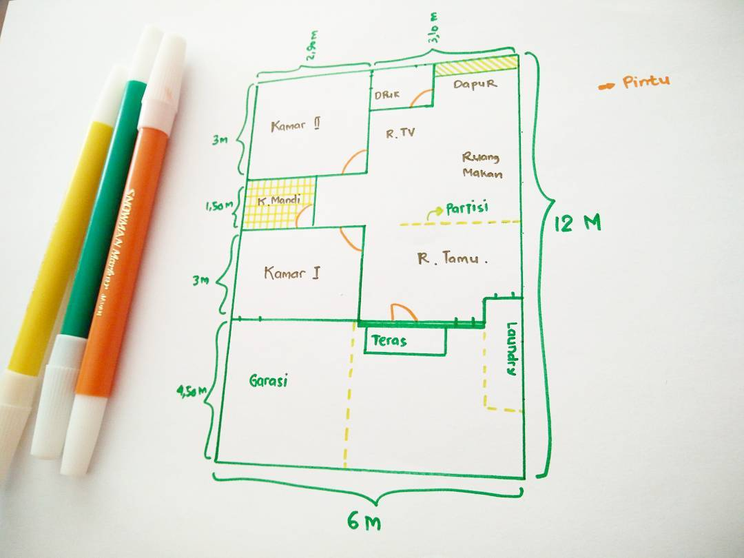 Denah Rumah Sederhana 6×12 & 9 Gambar Denah Rumah Sederhana Lengkap 2018 Type 36 45 | Dekor Rumah
