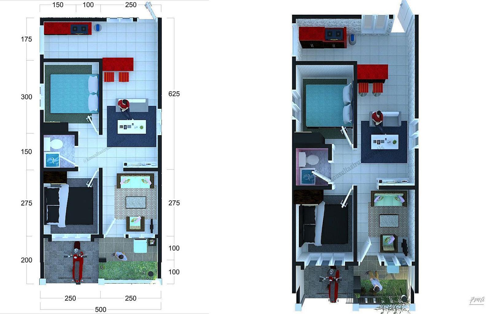 Denah Rumah Minimalis 6x10 M Terbaru