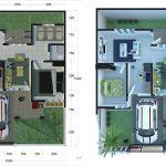 Denah Rumah Minimalis Sederhana Type 45 60 90 2 Kamar Tidur 3d