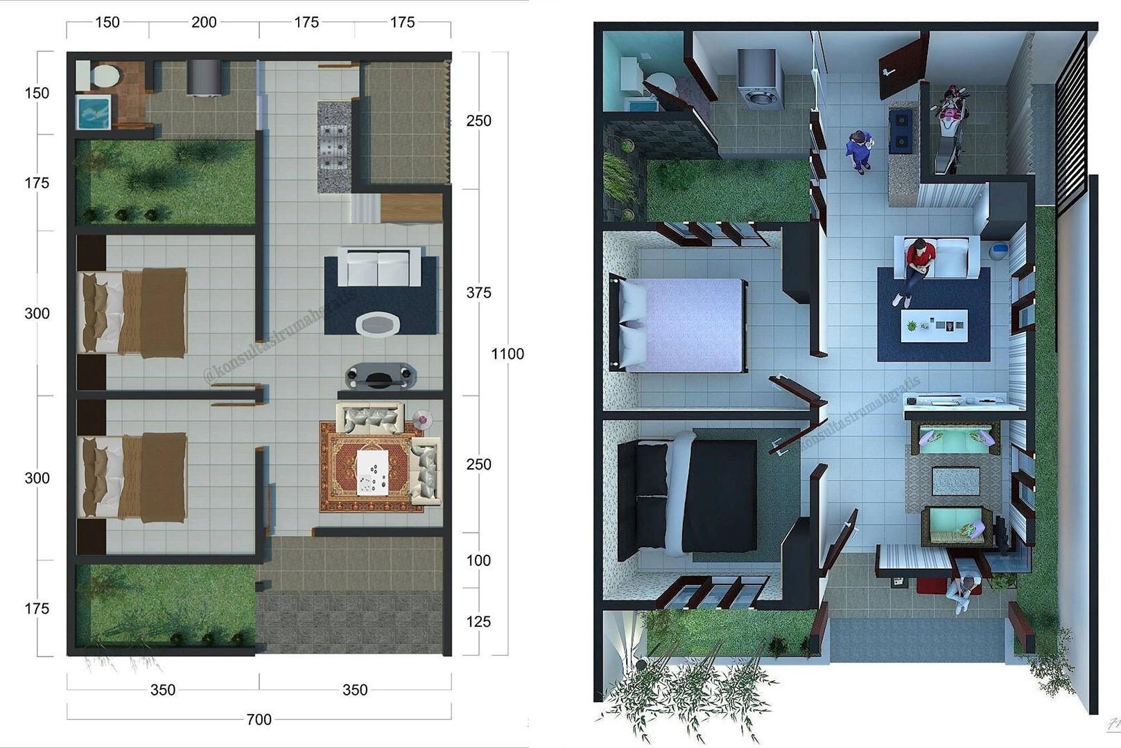 Denah Rumah Sederhana 2 Kamar Tidur Rumah Minimalis 3d