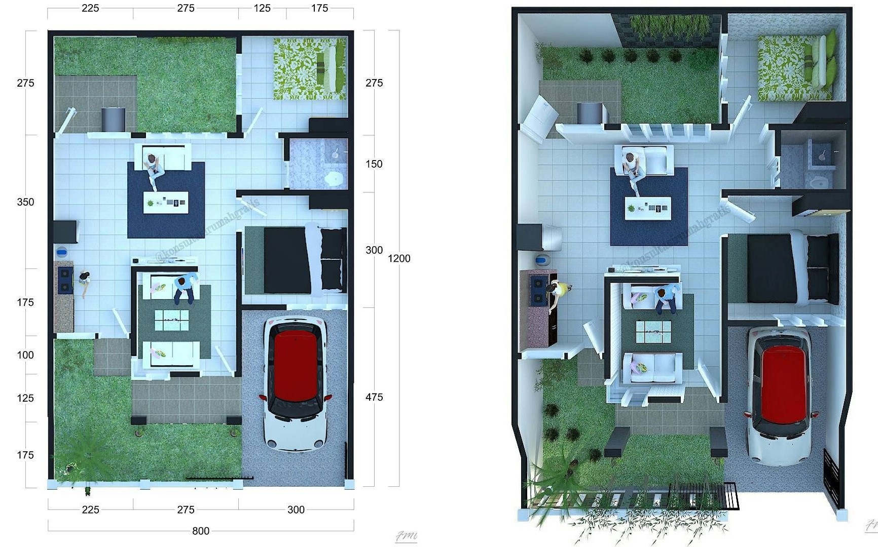 Denah Rumah Sederhana Minimalis 8x12
