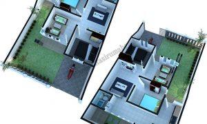 Denah Rumah Sederhana Minimalis Mungil 8 M X 13 M