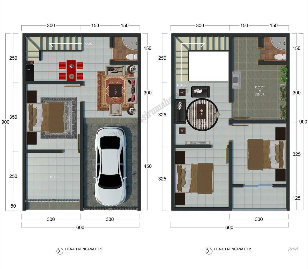Denah Rumah Minimalis Type 36 2 Lantai Terbaru