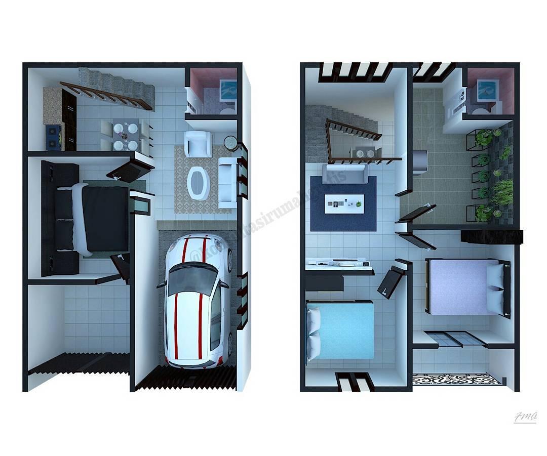 Denah Rumah Minimalis Type 36 2 Lantai Terbaru 3d