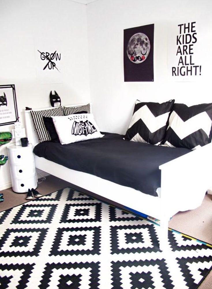 18 model desain kamar tidur hitam putih terbaru 2018 for Black and white kids room